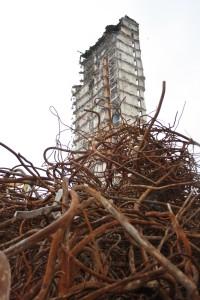 Demolition. Kingsway flats, Scotstoun
